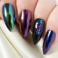 mixed chrome u0026 black artificial nails u2013 sarah u0027s sparkles nails