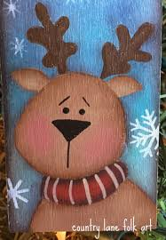 reindeer ornament wood tag christmas ornament hand painted
