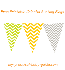 free printable colorful chevron bunting flags lime green orange