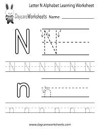 preschoolers can color in the letter n and then trace it following
