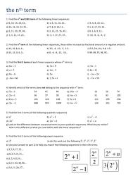maths ks4 the nth term worksheet by tristanjones teaching