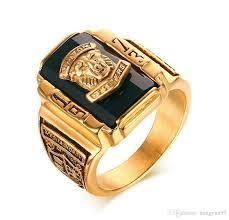 large gold rings images Men 39 s rock punk ring gold color large black cz stone ring men jpg