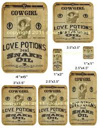 cowgirl love potion labels digital collage sheet