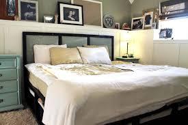 Platform Bed Frame With Headboard Bedroom Queen Size Platform Bed With Bookcase Headboard Rustic