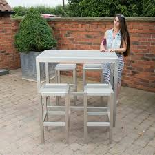 Aluminium Bar Table Brushed Aluminium Plaswood Rectangular Bar Table And Stools