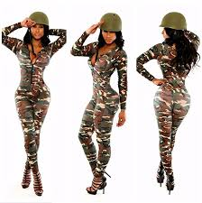 bodycon jumpsuit amazon com army green camouflage v neck sleeve