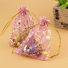 organza bags bulk free shipping 200pcs pink color golden flower pattern organza