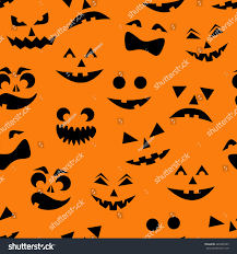 orange black halloween background seamless pattern black halloween pumpkins carved stock vector