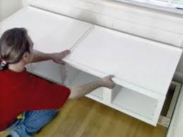 Making A Platform Bed Out Of Kitchen Cabinets by How To Build Window Seat From Wall Cabinets How Tos Diy