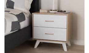 Natural Nightstand Helena Mid Century Modern Natural Oak And Whitewashed Wood 2