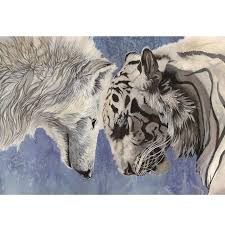 30 30cm painting tiger and wolf battle cross stitch