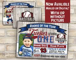 rookie year baseball jersey birthday party invitation