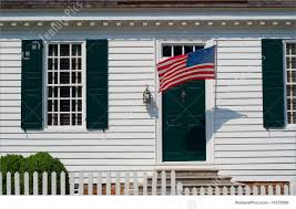 Us Colonial Flag White Colonial House Entrance Image