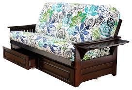 phoenix frame futon with espresso finish storage drawers
