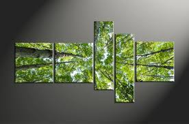 Home Decor Trees by 5 Piece Scenery Green Leafy Trees Multi Panel Canvas