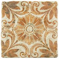 merola tile costa arena decor dahlia 7 3 4 in x 7 3 4 in ceramic