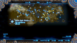 Map Of Current Location Zelda Breath Of The Wild Guide Hawa Koth Shrine Location