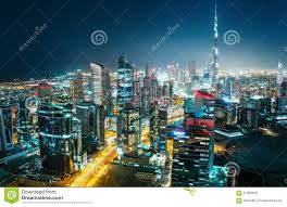 Modern City by Fantastic Aerial Cityscape Of A Modern City At Night Dubai