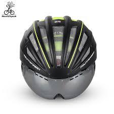 bike riding gear mountainpeak unibody bicycle riding helmet glasses with mountain