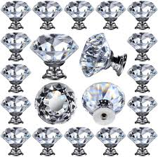 what is the best quality cabinet hardware 26 pcs glass cabinet knobs drawer pulls clear 30 mm for kitchen bathroom cabinet dresser and cupboard by deelf