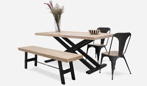 hendrix dining table with benton bench and 2 franco chairs