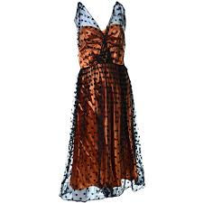 1950s ceil chapman vintage orange black dot tulle satin dress
