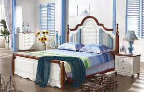 mediterranean style bedroom 1 bed 2 bedside dresser mirror wardrobe white rubber wood part