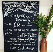 personalised order of the day wedding chalkboard by mee and es