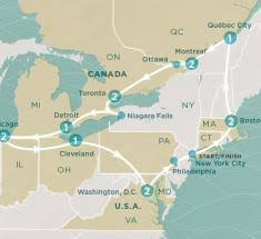 york map us east coast adventure 12 day tour visit nyc niagra falls