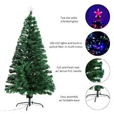 Easy Assemble Christmas Trees Homcom 5ft Pre Lit Led Optical Fiber Christmas Pine Tree Artificial
