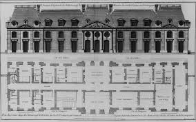 file elevation of courtyard facade and plan of first floor of the