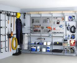 exterior garage organization with metal brackets also tools