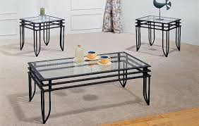 Coffee Tables Black Glass Contemporary Living Room With Metal Black Glass Coffee Table Set