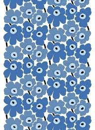 marimekko pieni unikko cotton fabric blue white 1 4 yd u2013 pirkko