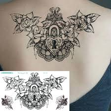 compass tattoo under breast 1sheet new chest flash tattoo large black flower love lock skull