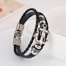 anchor bracelet black leather images Leather anchor bracelet black onyx shop jpg