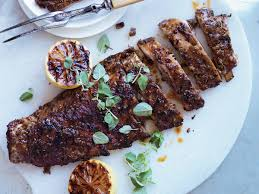 greek style pork spareribs with grilled lemons recipe michael
