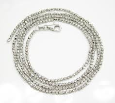 white gold bead necklace images White gold diamond cut hexagon cut bead chain 24 inch 2mm jpg