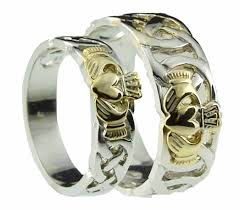 celtic wedding ring sets 10k 14k 18k two tone gold celtic claddagh wedding band ring set