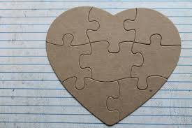 8 piece heart shaped jigsaw puzzle bare unfinished chipboard