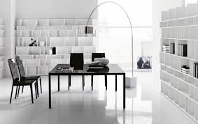 living room white minimalist office desk home design concept photo