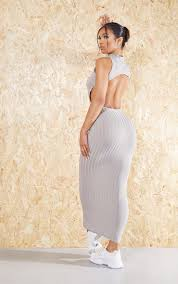 how to cut out the back of a cabinet grey recycled high neck cut out back midi dress