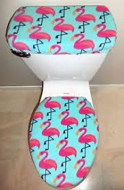 Pink Flamingo Bathroom Accessories by Pink Flamingo Fleece Fabric Toilet Seat Cover Set Bathroom