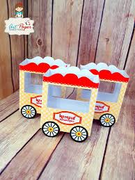 personalized box personalized popcorn box circus cart set of 10 paper