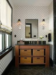 Masculine Bathroom Designs Unique Printed Wallpaper And Wooden Vanity For Masculine Guest