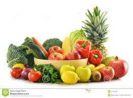 fruit and vegetable basket vegetables and fruits in wicker basket isolated stock image