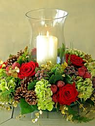 Christmas Hurricane Centerpiece - christmas holiday flower arrangement with hurricane candle