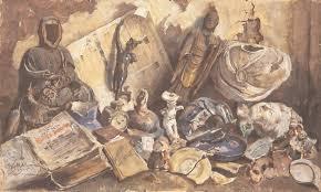 antoni suchanek po burzy nad starym światem 1945 akwarela gwasz pastel na papierze 92 155 cm wł muzeum narodowe w gdańsku nr inw mng sw 1 mr