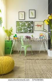 Room With Desk Room Sofa Dresser Blackboard Wall Yellow Stock Photo 558670084