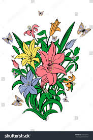 illustration bouquet lilies butterflies stock vector 160910783
